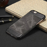 Luxury PU Leather Canvas Black Wallet Case For iPhone